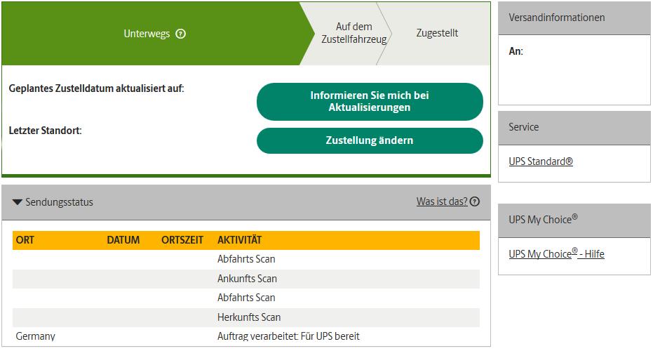 Fortschrittsbalken der UPS Sendungsverfolgung